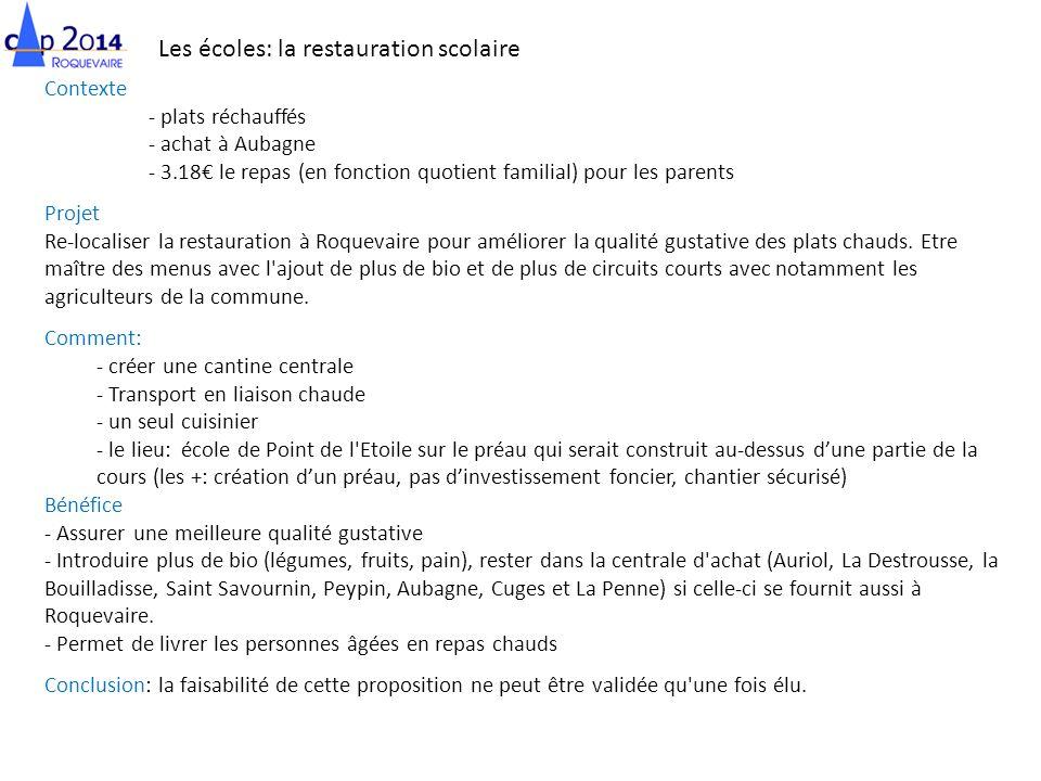Les écoles: la restauration scolaire Contexte - plats réchauffés - achat à Aubagne - 3.18 le repas (en fonction quotient familial) pour les parents Pr