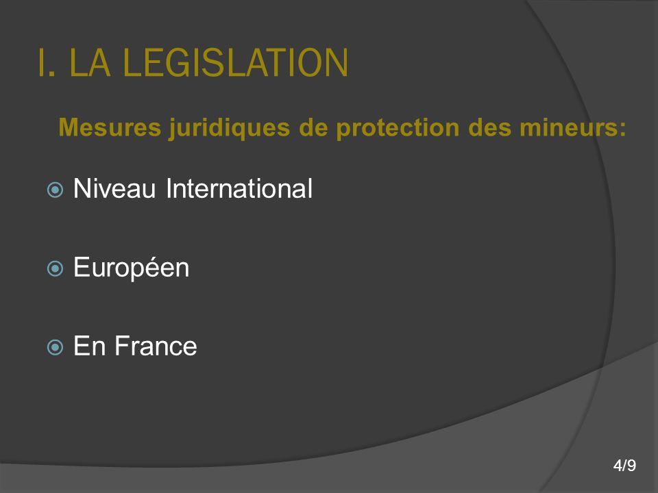 I. LA LEGISLATION Niveau International Européen En France Mesures juridiques de protection des mineurs: 4/9