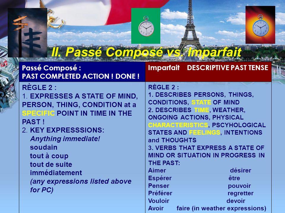 II. Passé Composé vs. Imparfait Passé Composé : PAST COMPLETED ACTION ! DONE ! Imparfait DESCRIPTIVE PAST TENSE 1. Tout à coup, il a été fatigué. 2. E