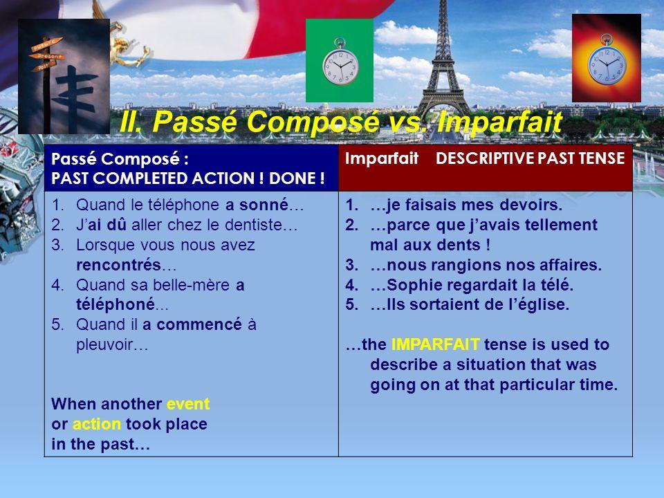 II. Passé Composé vs. Imparfait Passé Composé : PAST COMPLETED ACTION ! DONE ! Imparfait DESCRIPTIVE PAST TENSE RÈGLE 2 : 1. EXPRESSES A STATE OF MIND
