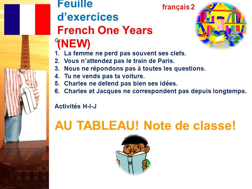 Les verbes en –re Feuille dexercices French One Years (NEW) français 2 E. 1.Est-ce que Marie et Alice défendent leur position dans un débat? 2.Est-ce