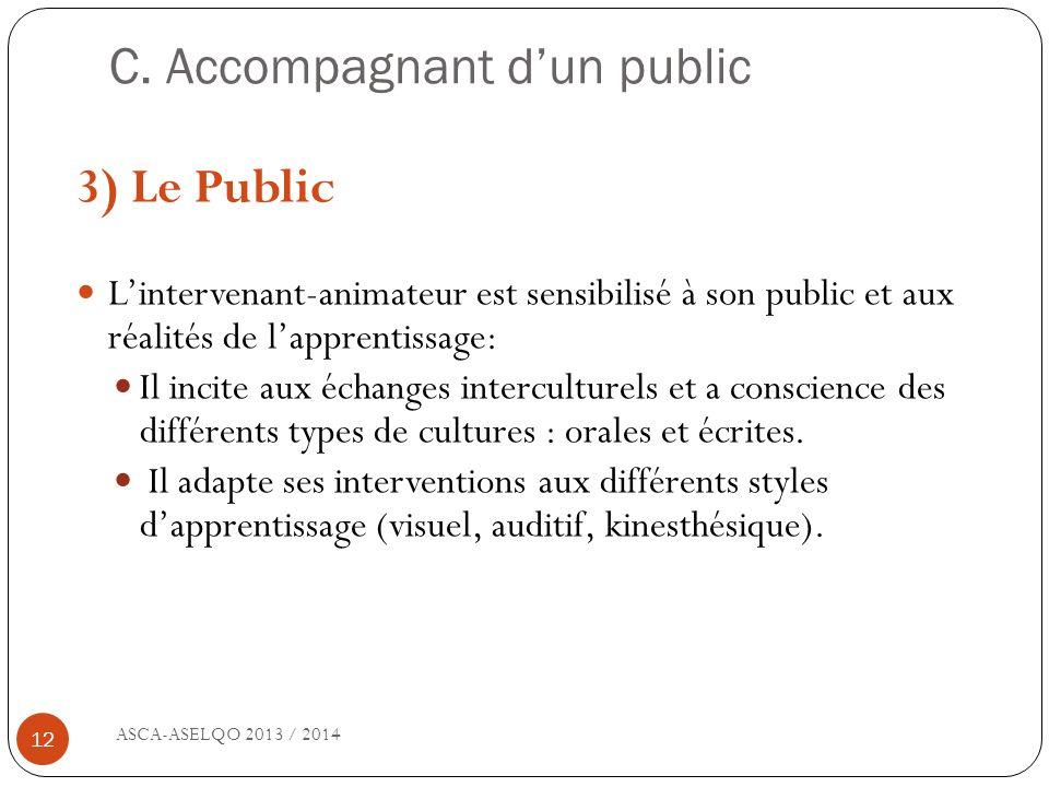 C. Accompagnant dun public ASCA-ASELQO 2013 / 2014 12 3) Le Public Lintervenant-animateur est sensibilisé à son public et aux réalités de lapprentissa