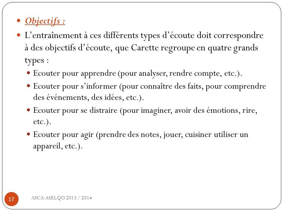 ASCA-ASELQO 2013 / 2014 17 Objectifs : Lentraînement à ces différents types découte doit correspondre à des objectifs découte, que Carette regroupe en