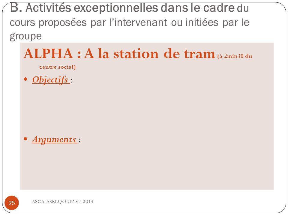 B. Activités exceptionnelles dans le cadre du cours proposées par lintervenant ou initiées par le groupe ASCA-ASELQO 2013 / 2014 25 ALPHA : A la stati