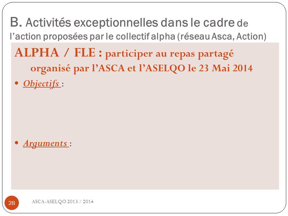 B. Activités exceptionnelles dans le cadre d e laction proposées par le collectif alpha (réseau Asca, Action) ASCA-ASELQO 2013 / 2014 28 ALPHA / FLE :
