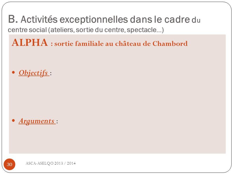 B. Activités exceptionnelles dans le cadre d u centre social (ateliers, sortie du centre, spectacle…) ASCA-ASELQO 2013 / 2014 30 ALPHA : sortie famili