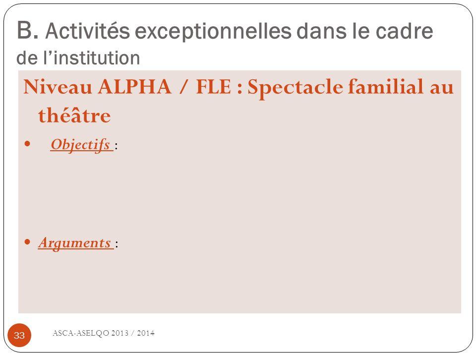 B. Activités exceptionnelles dans le cadre de linstitution ASCA-ASELQO 2013 / 2014 33 Niveau ALPHA / FLE : Spectacle familial au théâtre Objectifs : A