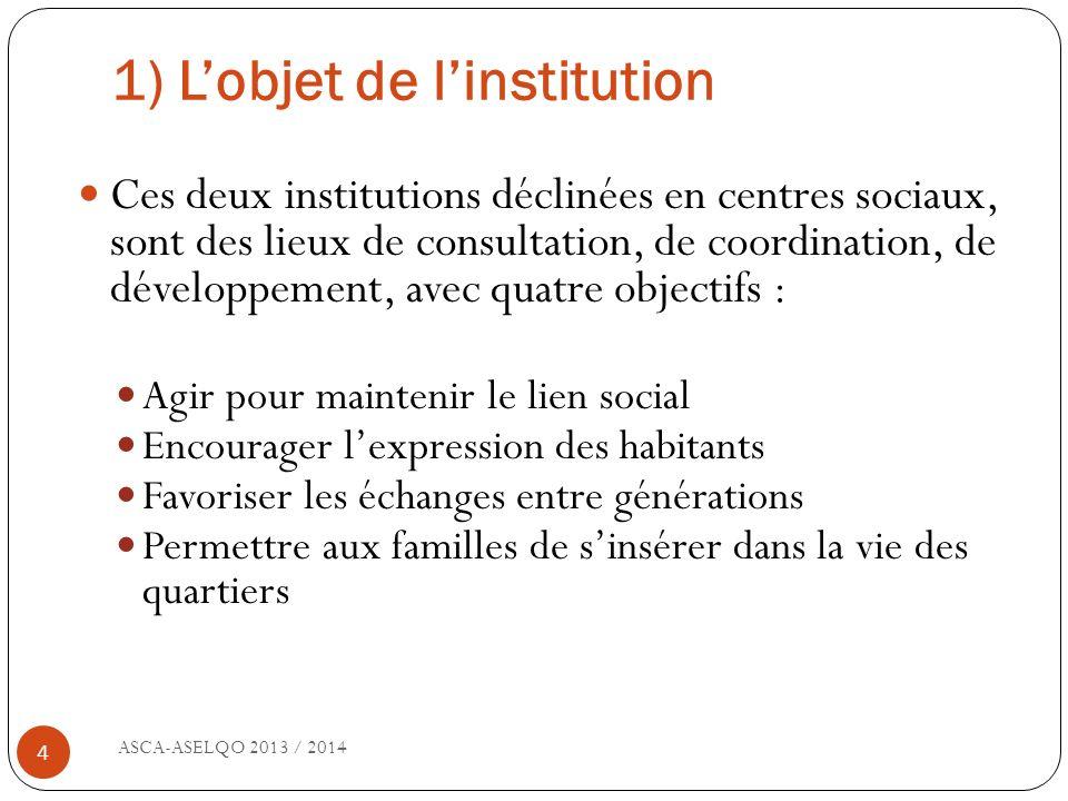 1) Lobjet de linstitution ASCA-ASELQO 2013 / 2014 4 Ces deux institutions déclinées en centres sociaux, sont des lieux de consultation, de coordinatio