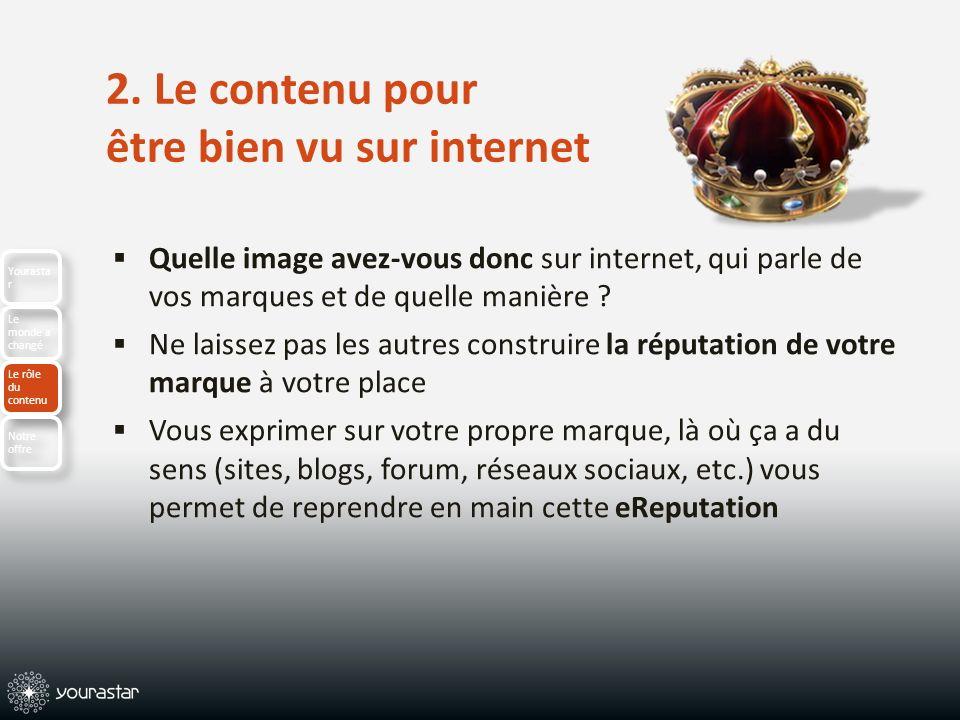 2. Le contenu pour être bien vu sur internet Quelle image avez-vous donc sur internet, qui parle de vos marques et de quelle manière ? Ne laissez pas