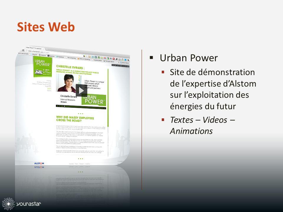 Sites Web Urban Power Site de démonstration de lexpertise dAlstom sur lexploitation des énergies du futur Textes – Videos – Animations