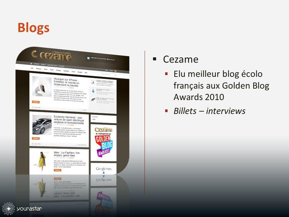 Blogs Cezame Elu meilleur blog écolo français aux Golden Blog Awards 2010 Billets – interviews
