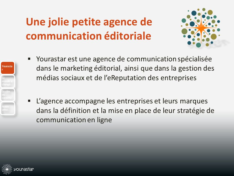 Une jolie petite agence de communication éditoriale Yourastar est une agence de communication spécialisée dans le marketing éditorial, ainsi que dans