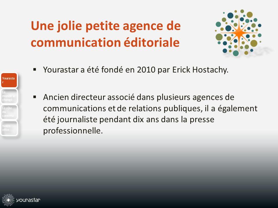 Une jolie petite agence de communication éditoriale Yourastar a été fondé en 2010 par Erick Hostachy. Ancien directeur associé dans plusieurs agences