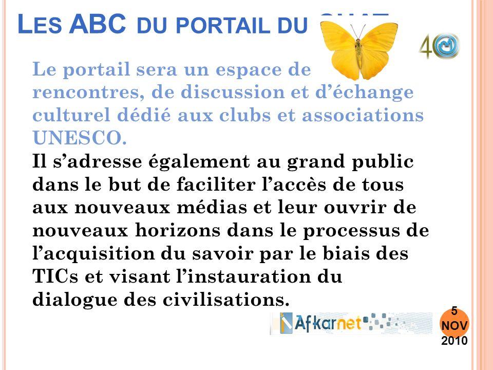L ES ABC DU PORTAIL DU CUAT 5 NOV 2010 Le portail sera un espace de rencontres, de discussion et déchange culturel dédié aux clubs et associations UNESCO.