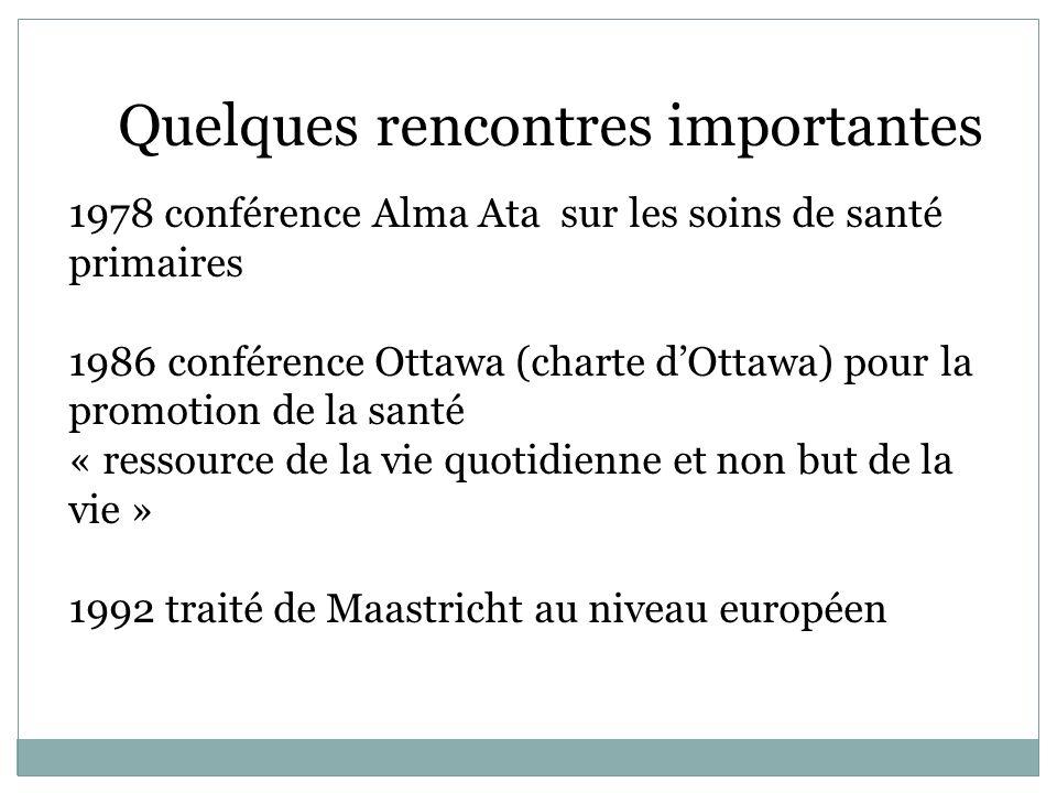 Quelques rencontres importantes 1978 conférence Alma Ata sur les soins de santé primaires 1986 conférence Ottawa (charte dOttawa) pour la promotion de