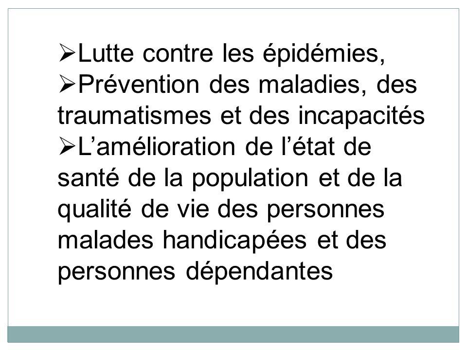 Lutte contre les épidémies, Prévention des maladies, des traumatismes et des incapacités Lamélioration de létat de santé de la population et de la qua