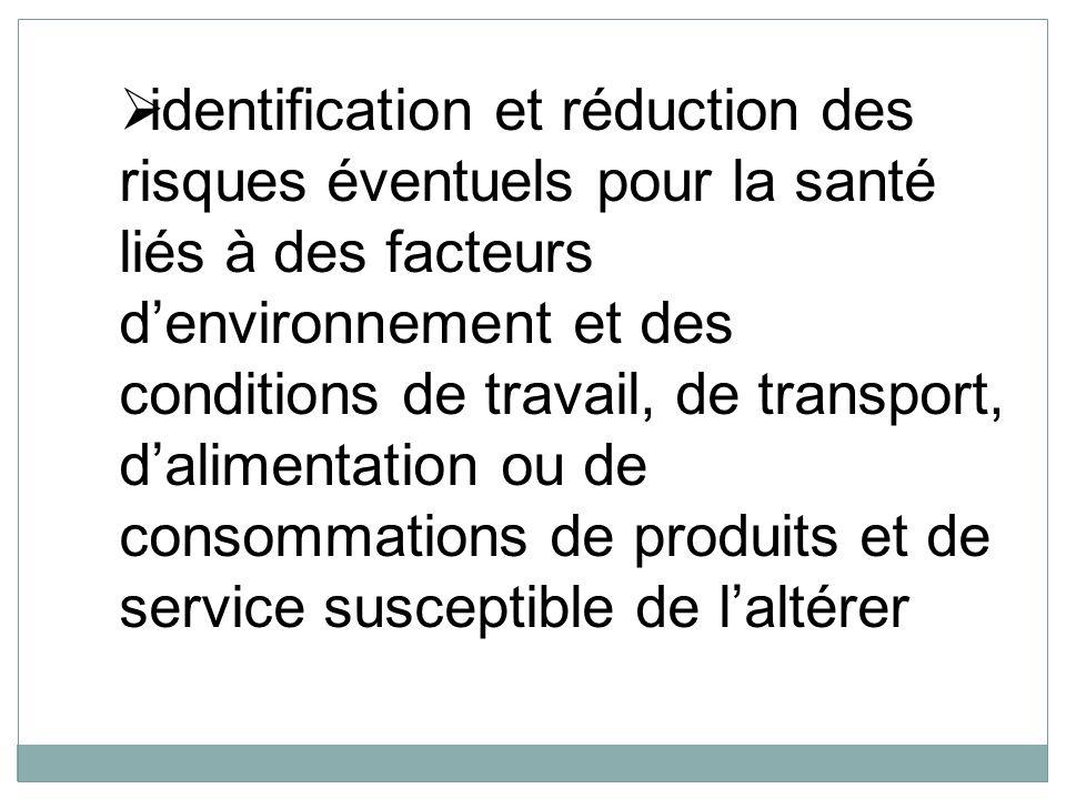 identification et réduction des risques éventuels pour la santé liés à des facteurs denvironnement et des conditions de travail, de transport, dalimen