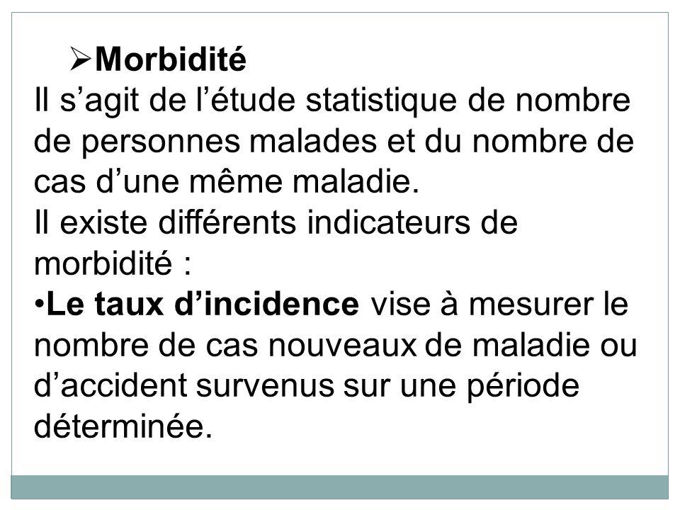 Morbidité Il sagit de létude statistique de nombre de personnes malades et du nombre de cas dune même maladie. Il existe différents indicateurs de mor