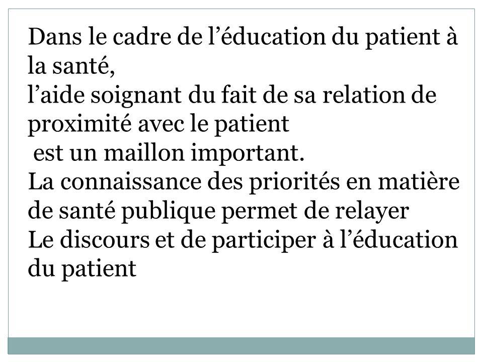 Dans le cadre de léducation du patient à la santé, laide soignant du fait de sa relation de proximité avec le patient est un maillon important. La con
