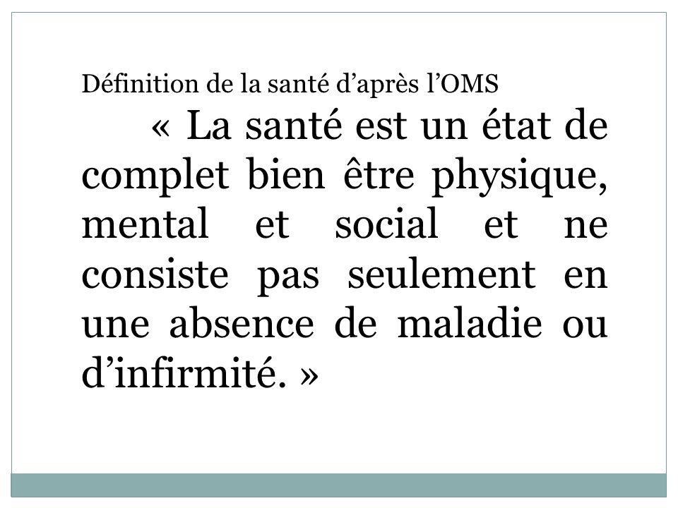 Définition de la santé daprès lOMS « La santé est un état de complet bien être physique, mental et social et ne consiste pas seulement en une absence
