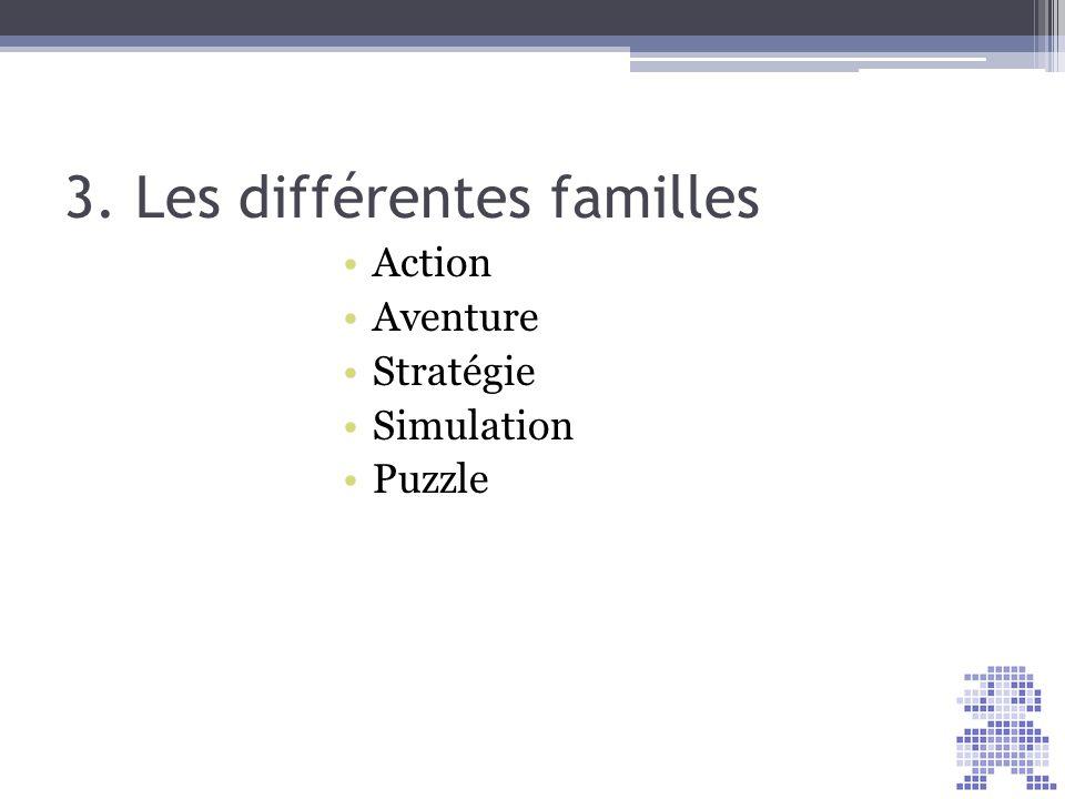 3. Les différentes familles Action Aventure Stratégie Simulation Puzzle