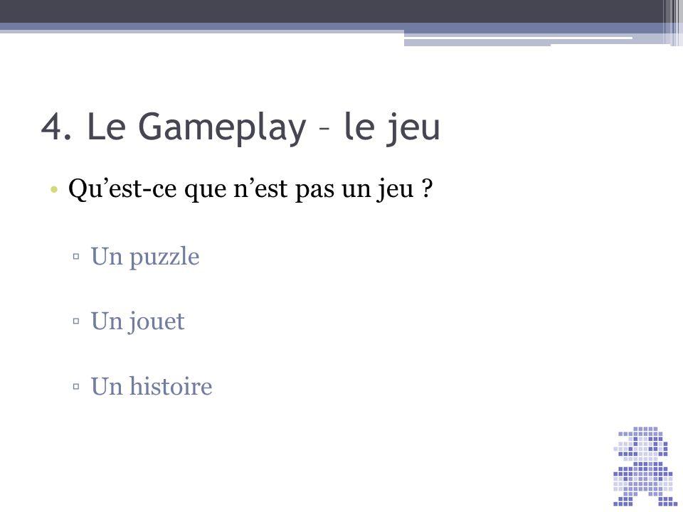 4. Le Gameplay – le jeu Quest-ce que nest pas un jeu ? Un puzzle Un jouet Un histoire Score = 30