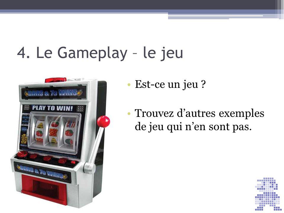 4. Le Gameplay – le jeu Score = 30 Est-ce un jeu ? Trouvez dautres exemples de jeu qui nen sont pas.