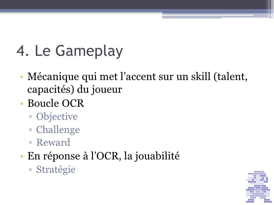 4. Le Gameplay Mécanique qui met laccent sur un skill (talent, capacités) du joueur Boucle OCR Objective Challenge Reward En réponse à lOCR, la jouabi