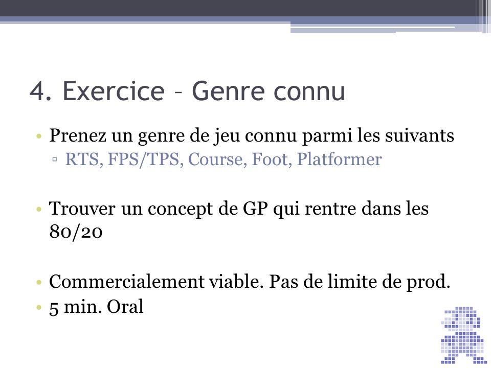 4. Exercice – Genre connu Prenez un genre de jeu connu parmi les suivants RTS, FPS/TPS, Course, Foot, Platformer Trouver un concept de GP qui rentre d