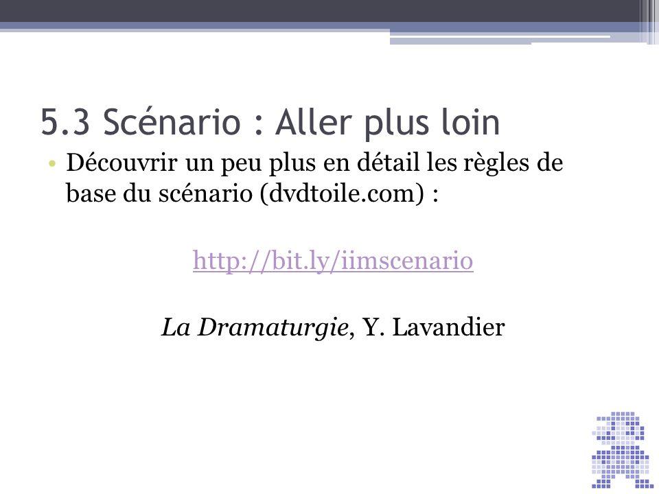 5.3 Scénario : Aller plus loin Découvrir un peu plus en détail les règles de base du scénario (dvdtoile.com) : http://bit.ly/iimscenario La Dramaturgi