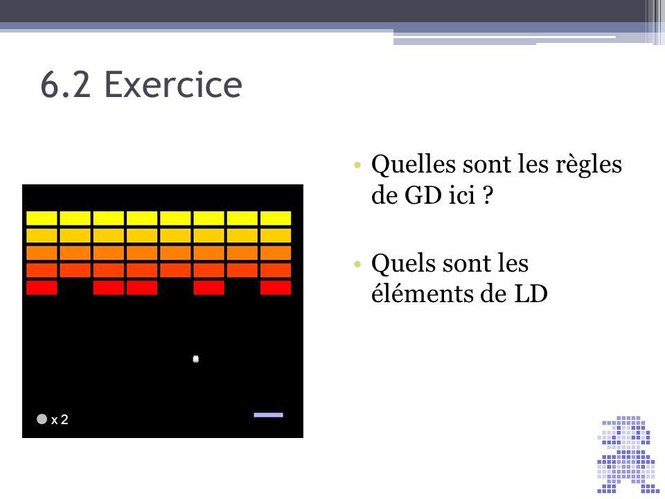 6.2 Exercice Quelles sont les règles de GD ici ? Quels sont les éléments de LD x 2