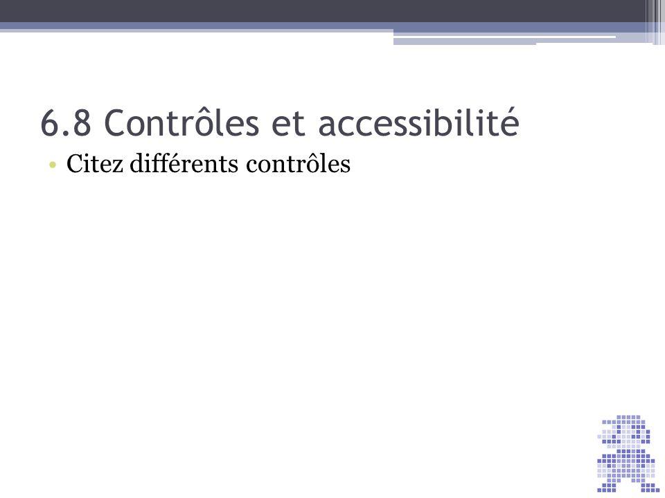 6.8 Contrôles et accessibilité Citez différents contrôles