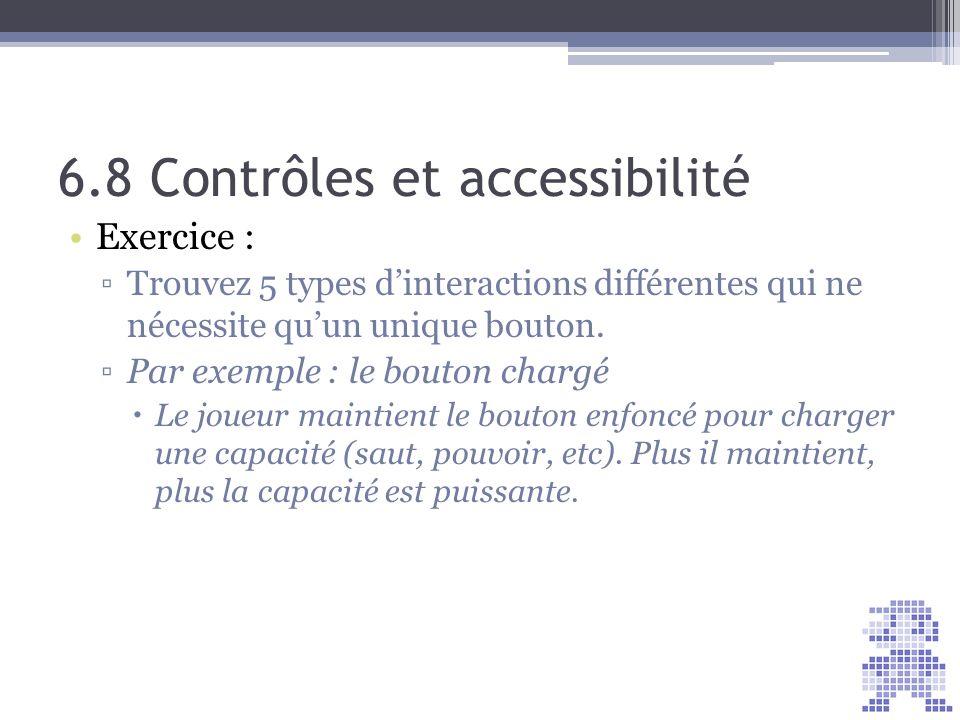 6.8 Contrôles et accessibilité Exercice : Trouvez 5 types dinteractions différentes qui ne nécessite quun unique bouton. Par exemple : le bouton charg