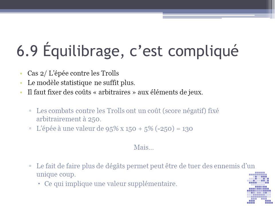 6.9 Équilibrage, cest compliqué Cas 2/ Lépée contre les Trolls Le modèle statistique ne suffit plus. Il faut fixer des coûts « arbitraires » aux éléme