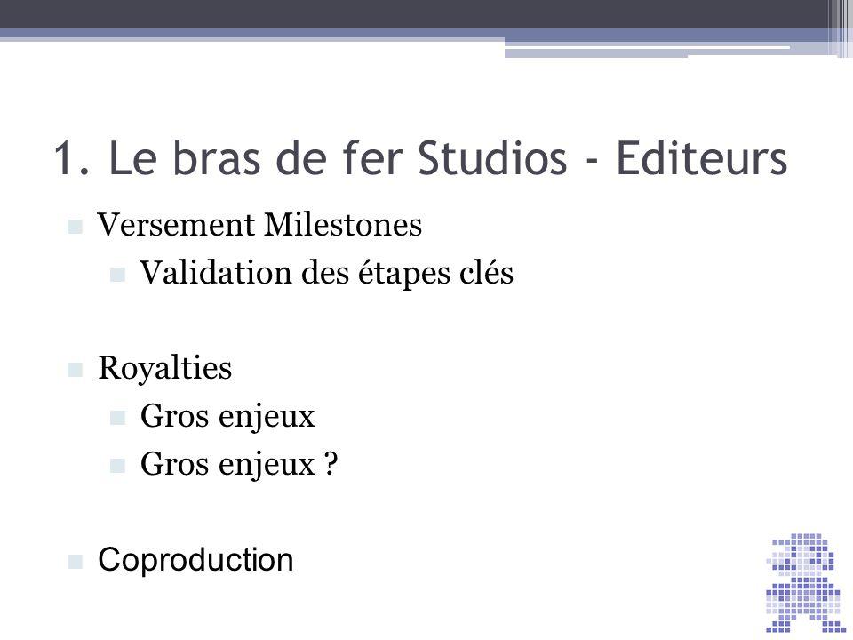 1. Le bras de fer Studios - Editeurs Versement Milestones Validation des étapes clés Royalties Gros enjeux Gros enjeux ? Coproduction
