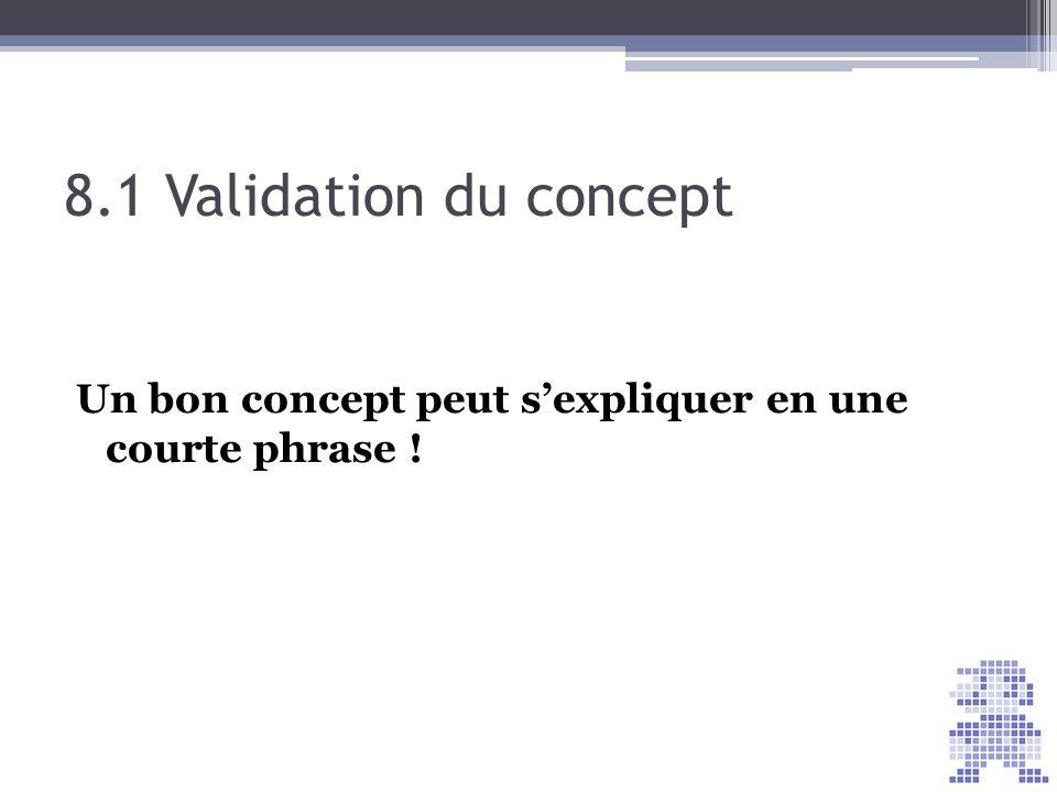 8.1 Validation du concept Un bon concept peut sexpliquer en une courte phrase !