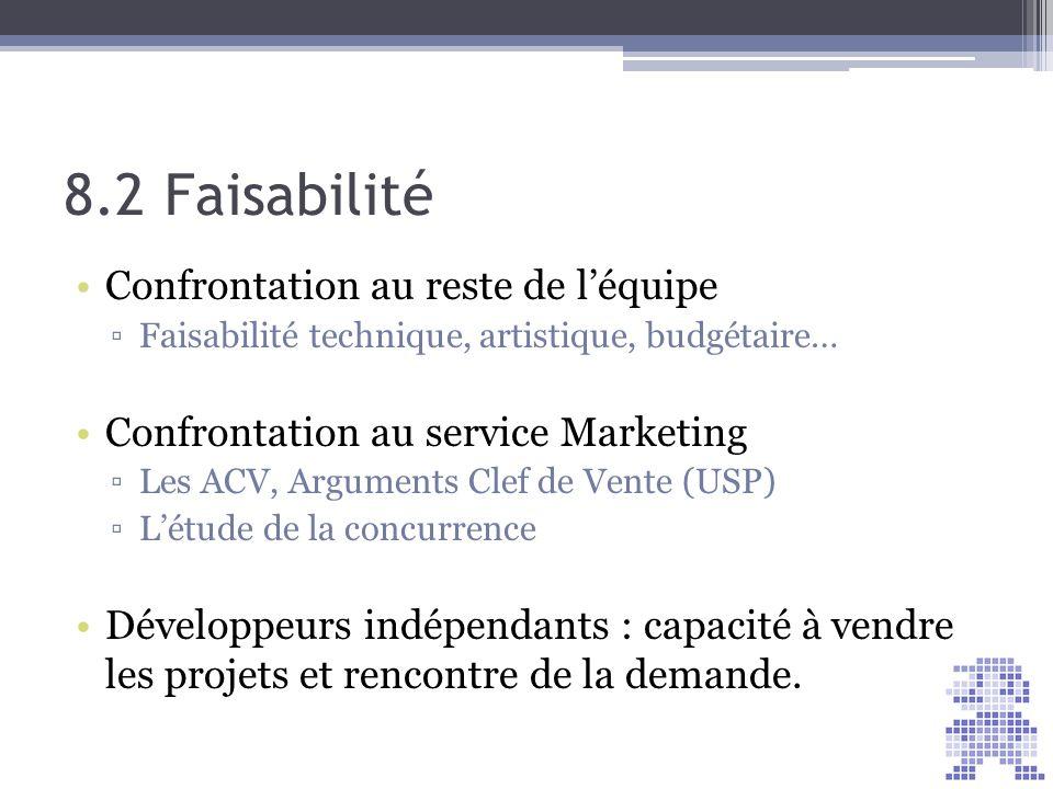 8.2 Faisabilité Confrontation au reste de léquipe Faisabilité technique, artistique, budgétaire… Confrontation au service Marketing Les ACV, Arguments