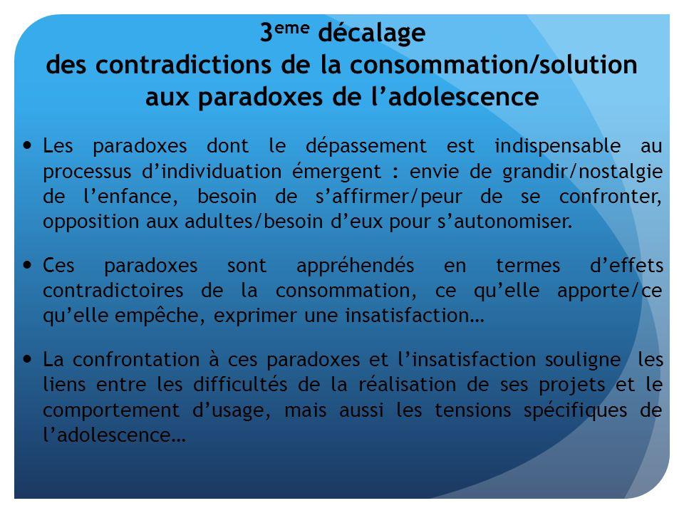 3 eme décalage des contradictions de la consommation/solution aux paradoxes de ladolescence Les paradoxes dont le dépassement est indispensable au pro