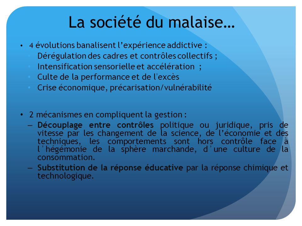 La société du malaise… 4 évolutions banalisent lexpérience addictive : Dérégulation des cadres et contrôles collectifs ; Intensification sensorielle e