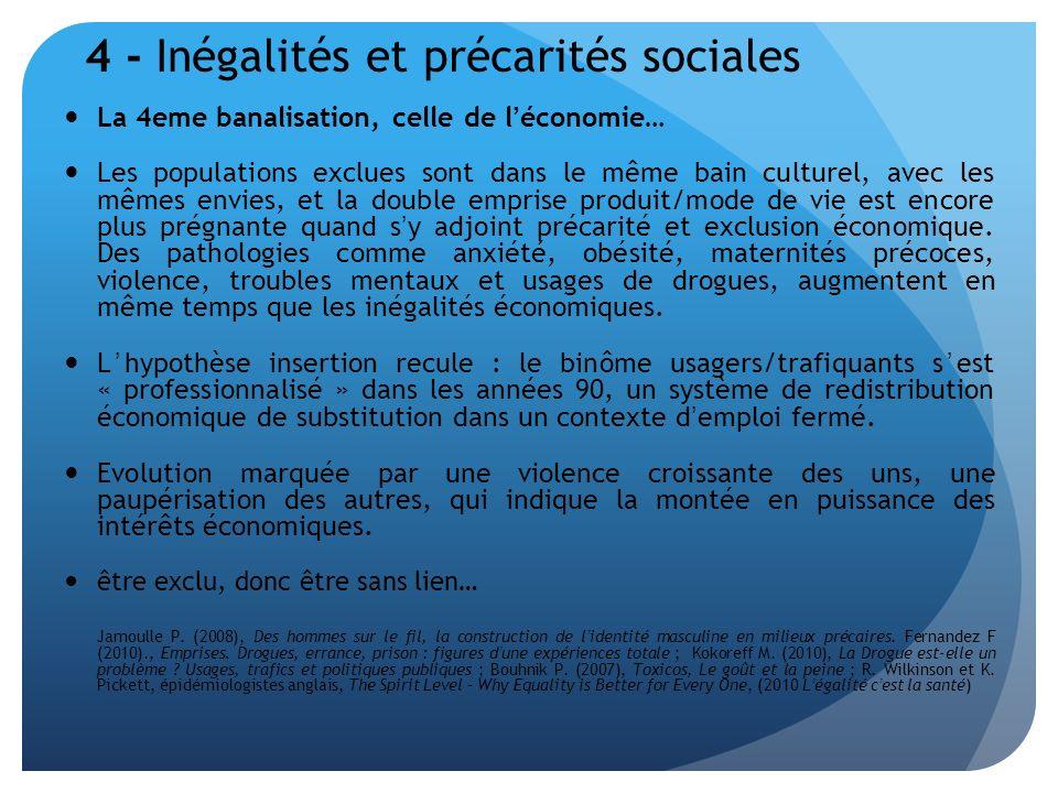 4 - Inégalités et précarités sociales La 4eme banalisation, celle de léconomie… Les populations exclues sont dans le même bain culturel, avec les même