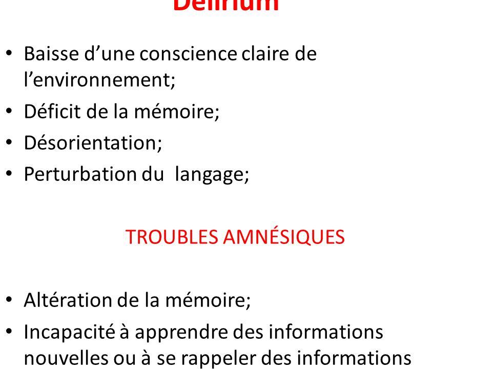 Delirium Baisse dune conscience claire de lenvironnement; Déficit de la mémoire; Désorientation; Perturbation du langage; TROUBLES AMNÉSIQUES Altérati