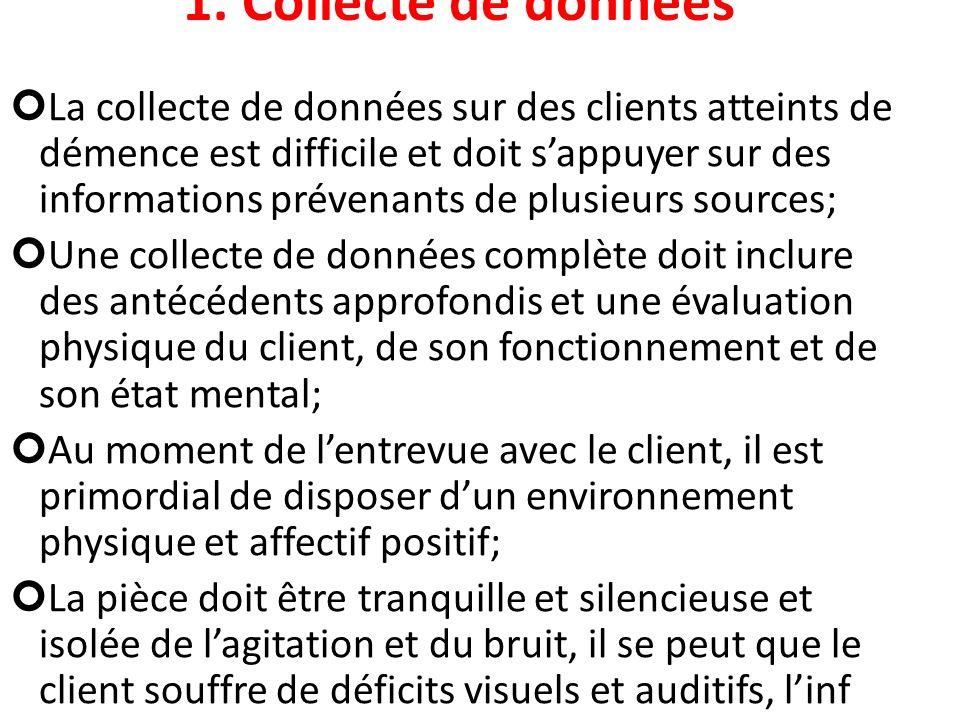 1. Collecte de données La collecte de données sur des clients atteints de démence est difficile et doit sappuyer sur des informations prévenants de pl