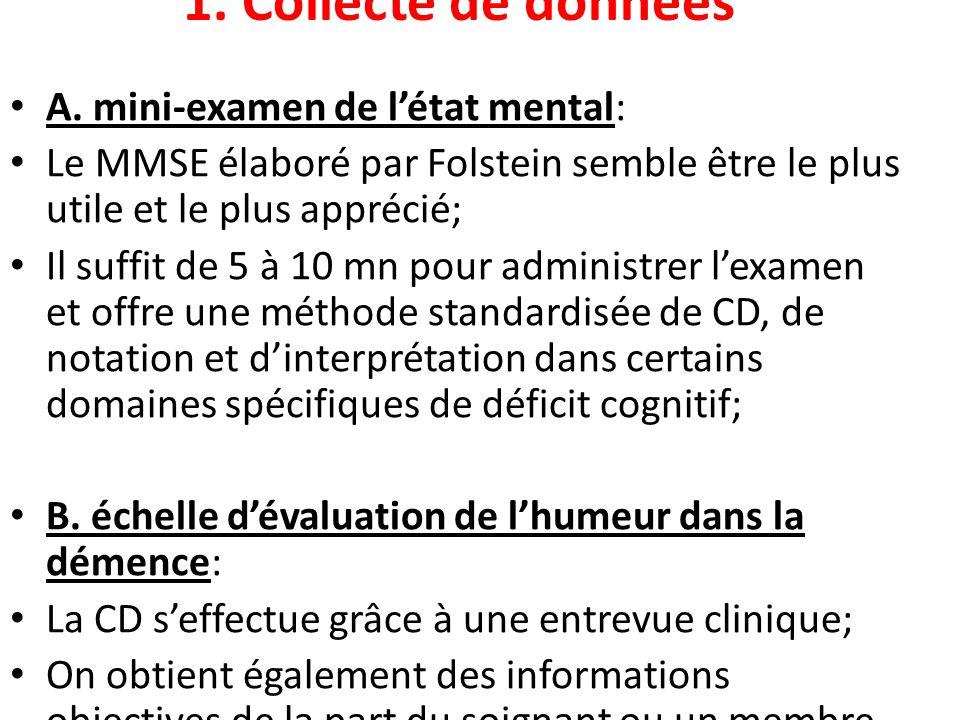 1. Collecte de données A. mini-examen de létat mental: Le MMSE élaboré par Folstein semble être le plus utile et le plus apprécié; Il suffit de 5 à 10