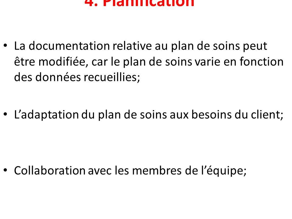 4. Planification La documentation relative au plan de soins peut être modifiée, car le plan de soins varie en fonction des données recueillies; Ladapt