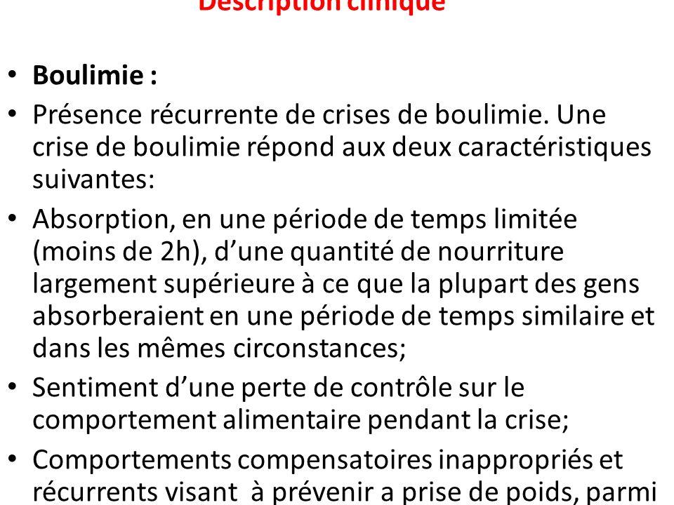 Description clinique Boulimie : Présence récurrente de crises de boulimie. Une crise de boulimie répond aux deux caractéristiques suivantes: Absorptio