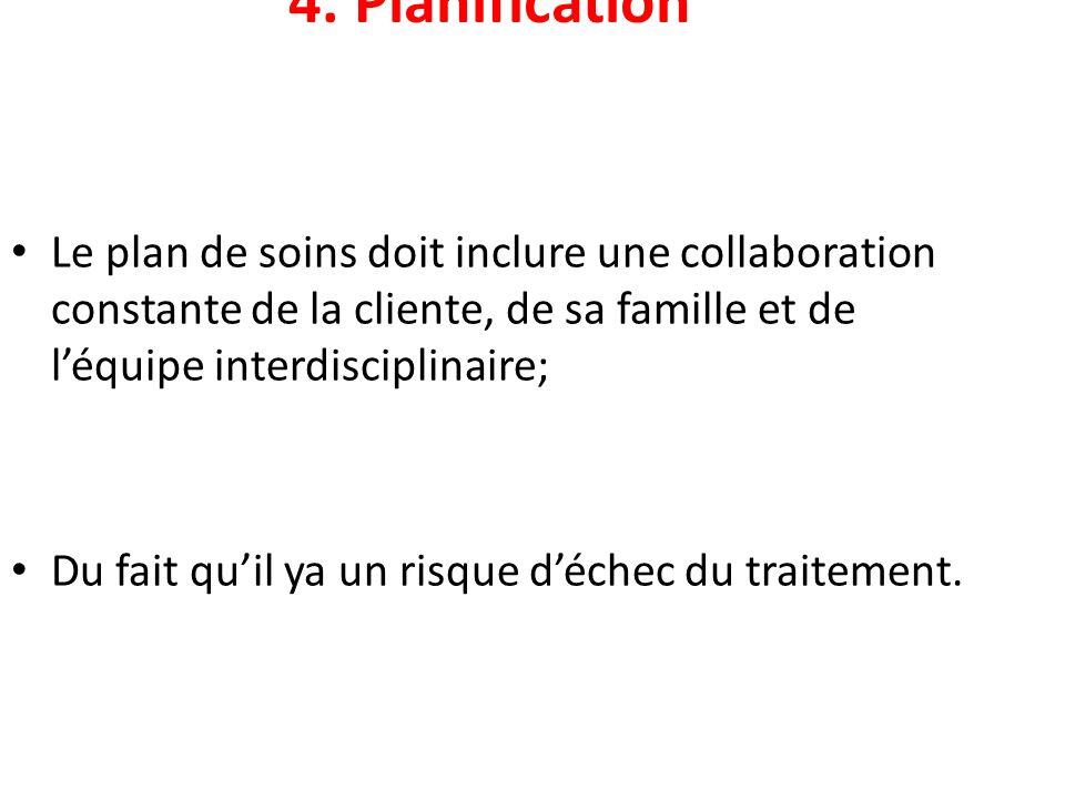 4. Planification Le plan de soins doit inclure une collaboration constante de la cliente, de sa famille et de léquipe interdisciplinaire; Du fait quil