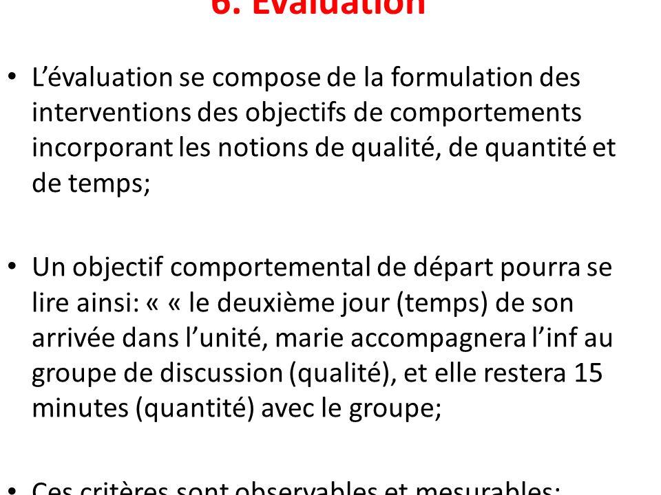 6. Évaluation Lévaluation se compose de la formulation des interventions des objectifs de comportements incorporant les notions de qualité, de quantit