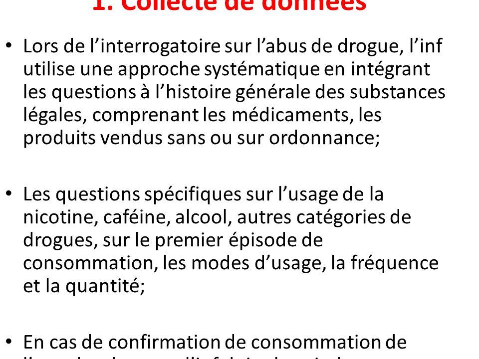 1. Collecte de données Lors de linterrogatoire sur labus de drogue, linf utilise une approche systématique en intégrant les questions à lhistoire géné