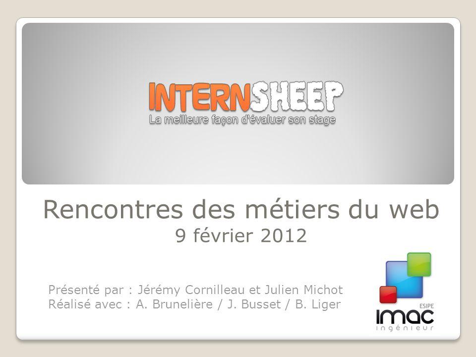 Rencontres des métiers du web 9 février 2012 Présenté par : Jérémy Cornilleau et Julien Michot Réalisé avec : A.