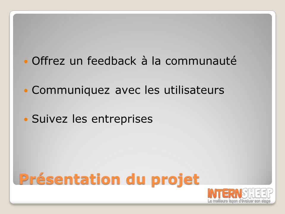 Présentation du projet Offrez un feedback à la communauté Communiquez avec les utilisateurs Suivez les entreprises